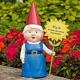 Gwen Garden Gnome with Personalized Greeting Sign