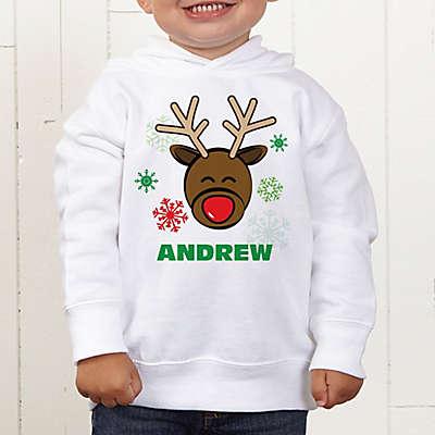 Christmas Reindeer Personalized Toddler Hooded Sweatshirt