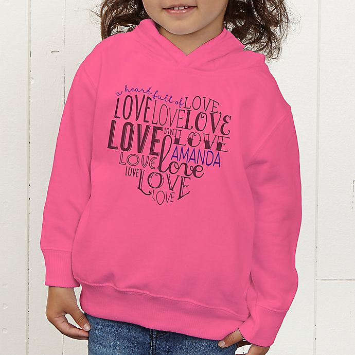 Alternate image 1 for A Heart Full Of Love Personalized Toddler Hooded Sweatshirt