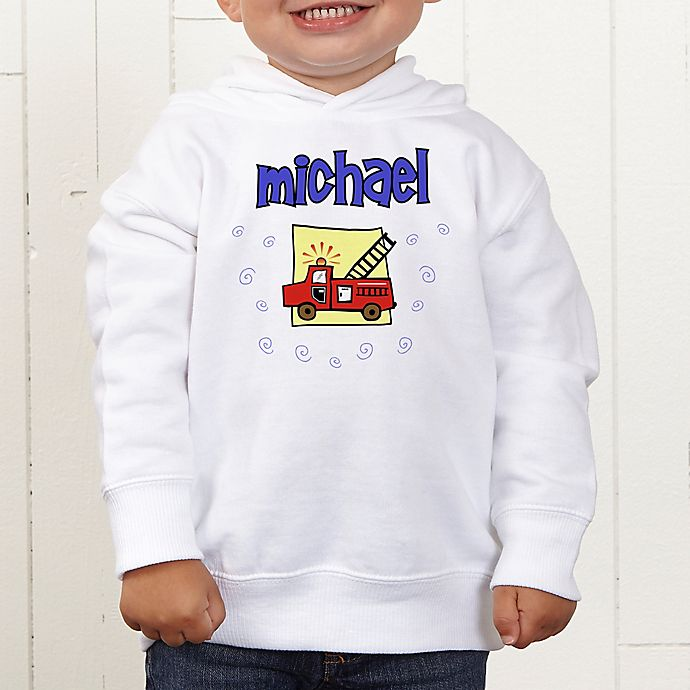 Alternate image 1 for He's All Boy Personalized Toddler Hooded Sweatshirt
