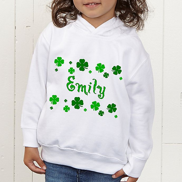 Alternate image 1 for Lucky Clover Personalized Toddler Hooded Sweatshirt