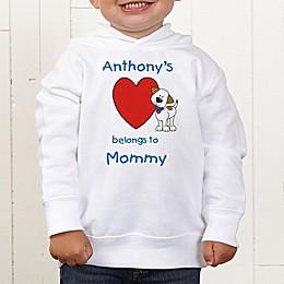 Puppy Heart Belongs Personalized Toddler Hooded Sweatshirt