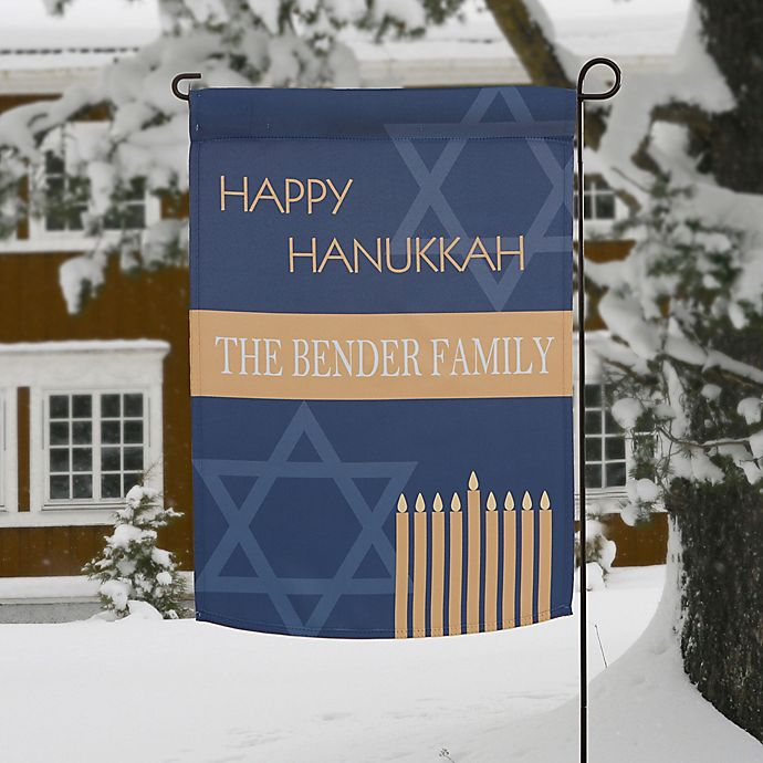 Alternate image 1 for Hanukkah Personalized Garden Flag