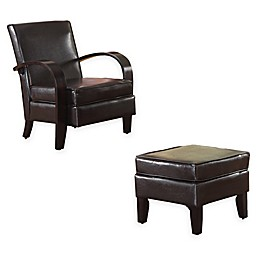 Brassex Inc Upholstered Verona Chairs in Espresso(Set of 2)