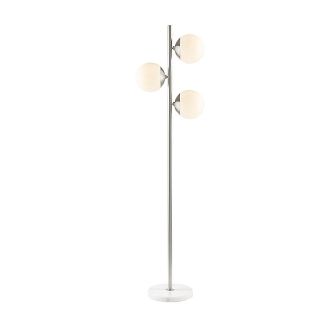 Alternate image 1 for INK+IVY Holloway 3-Light Floor Lamp in Silver with Glass Shades