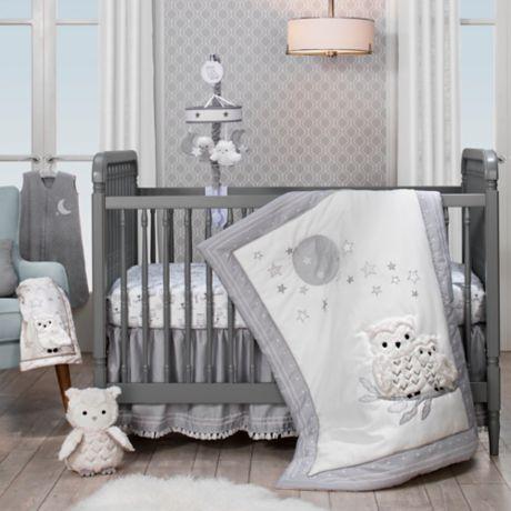Lambs Amp Ivy 174 Luna 4 Piece Crib Bedding Set In Grey White