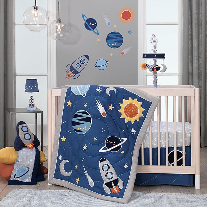 Alternate image 1 for Lambs & Ivy® Milky Way 4-Piece Crib Bedding Set in Blue/Grey