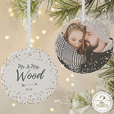 2-Sided Matte Sparkling Love Personalized Ornament- Large