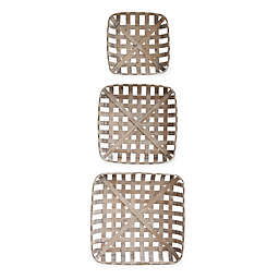 Square Reproduction 3-Piece Tobacco Baskets in Tan