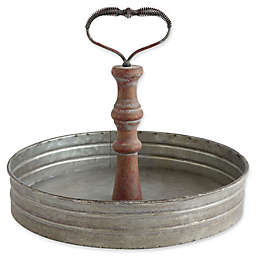 Metal Tray with Distressed Red Handle