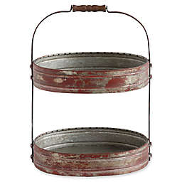 Oval Metal  2-Tier Tray with Wood Handles