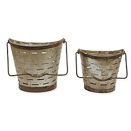 Metal Buckets with Handle (Set of 2)