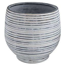 Striped Planter in Grey/White