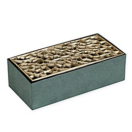 Madison Park Dacre Wood & Metal Box Vase in Green/Gold