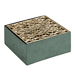 Madison Park Darcre Square Wood and Metal Vase in Green/Gold