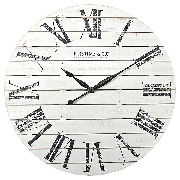 Firstime Amp Co 174 Shiplap Wall Clock In White Bed Bath And