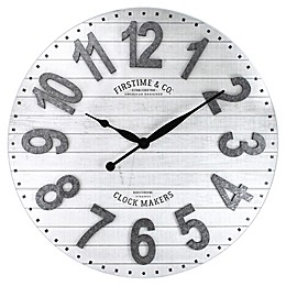 FirsTime & Co.® Savannah Wall Clock in White/Silver