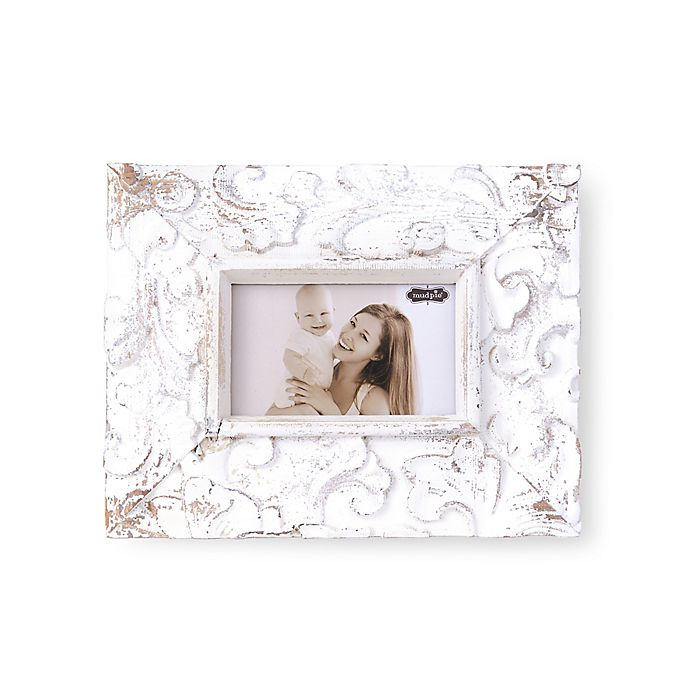 Alternate image 1 for Mudpie© Distressed Wood 3.5-Inch x 5.5-Inch Photo Frame in White