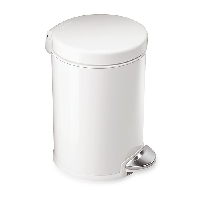 Alternate image 1 for simplehuman® Round 1-1/5 Gallon Step Wastebasket in White