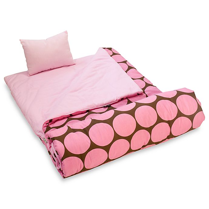 Alternate image 1 for Wildkin Pink Big Dots Sleeping Bag