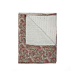 Kantha Cotton Throw in Green and Red