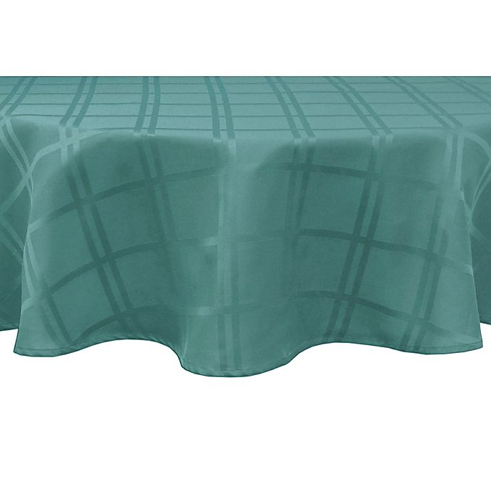 Alternate image 1 for Origins™ Microfiber 60-Inch Round Tablecloth in Turquoise