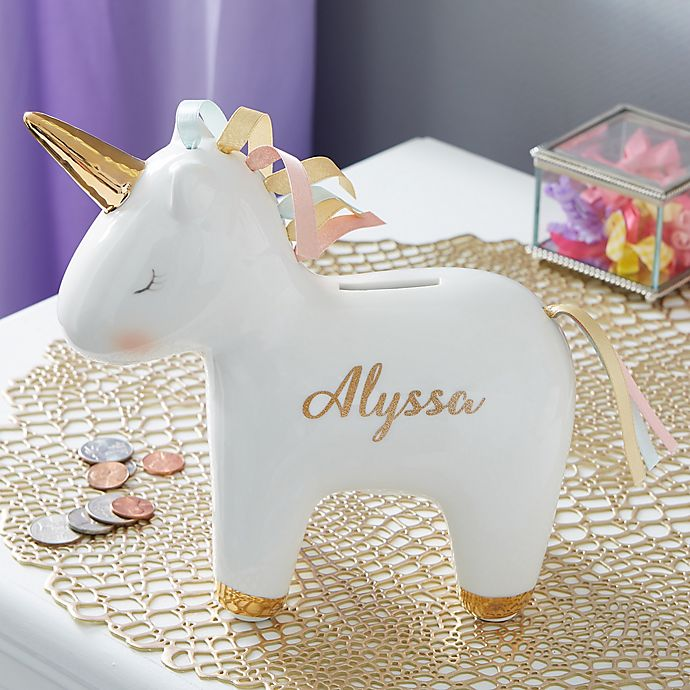 Alternate image 1 for Unicorn Personalized Piggy Bank