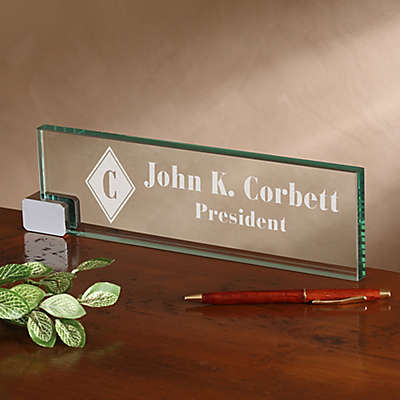 Executive Personalized Glass Nameplate