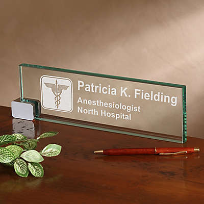 Medical Practice Personalized Glass Nameplate