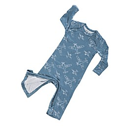 Gunamuna Zip-Up Airplane Pajama in Blue
