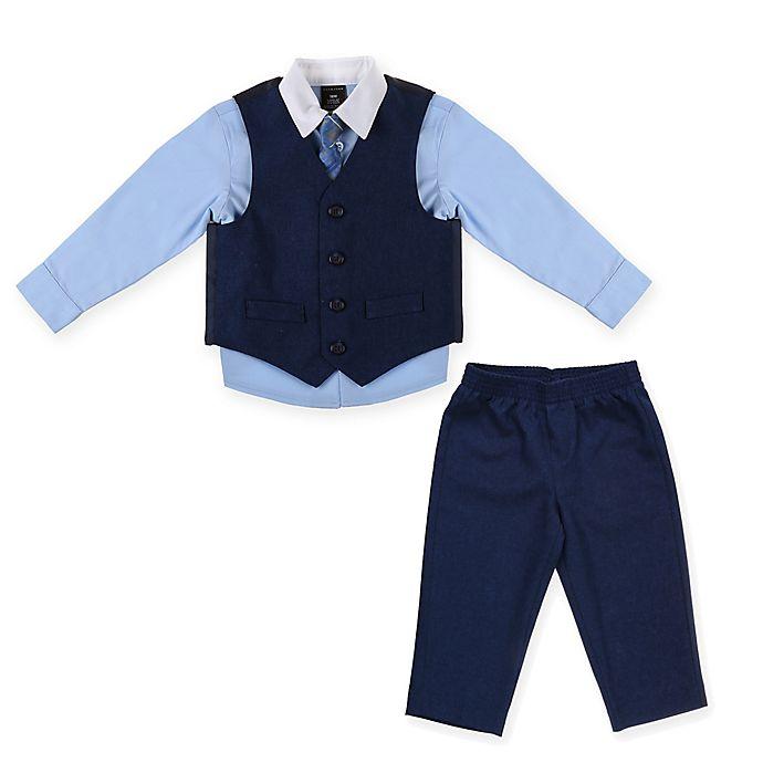 Alternate image 1 for Sean John® Size 4T 4-Piece Heather Poplin Vest Set