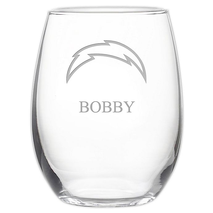 Alternate image 1 for NFL Los Angeles Chargers 21 oz. Stemless Etched Wine Glass
