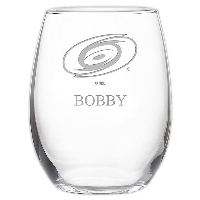 Alternate image 1 for NHL Carolina Hurricanes Stemless 21 oz. Etched Wine Glass
