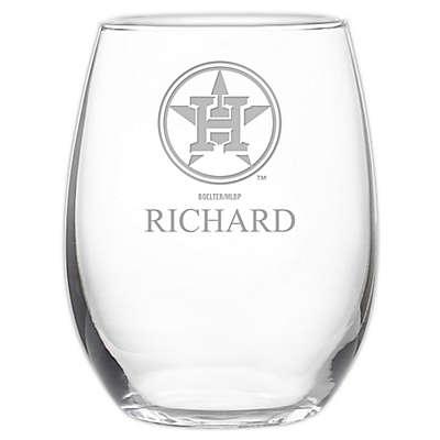 MLB Houston Astros Stemless 21 oz. Etched Wine Glass