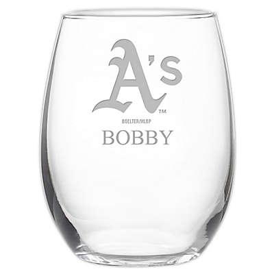 MLB Oakland Athletics Stemless 21 oz. Etched Wine Glass