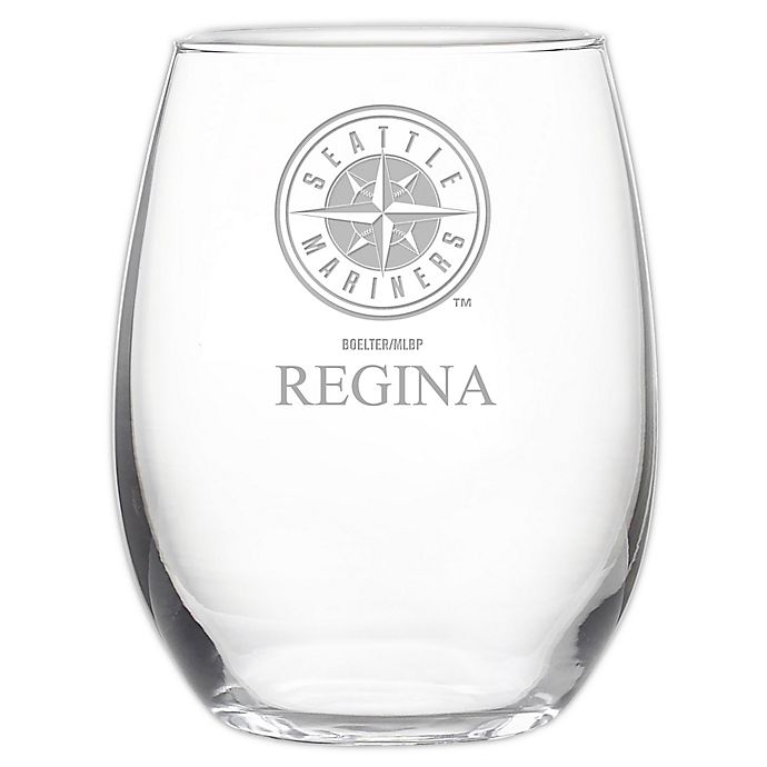 Alternate image 1 for MLB Seattle Mariners Stemless 21 oz. Etched Wine Glass