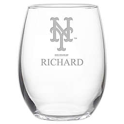 MLB New York Mets Stemless 21 oz. Etched Wine Glass
