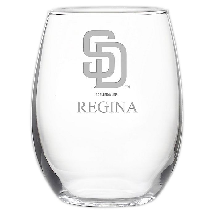 Alternate image 1 for MLB San Diego Padres Stemless 21 oz. Etched Wine Glass