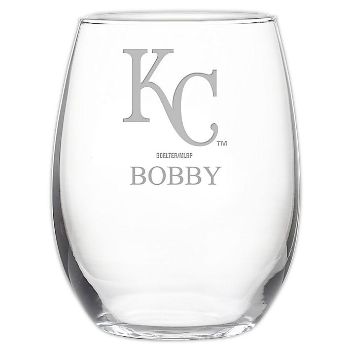 Alternate image 1 for MLB Kansas City Royals Stemless 21 oz. Etched Wine Glass