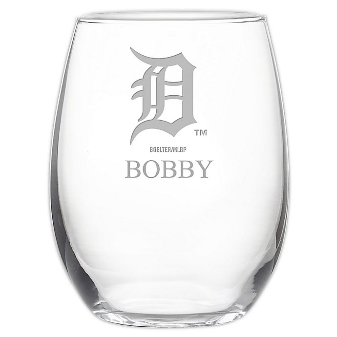 Alternate image 1 for MLB Detroit Tigers Stemless 21 oz. Etched Wine Glass