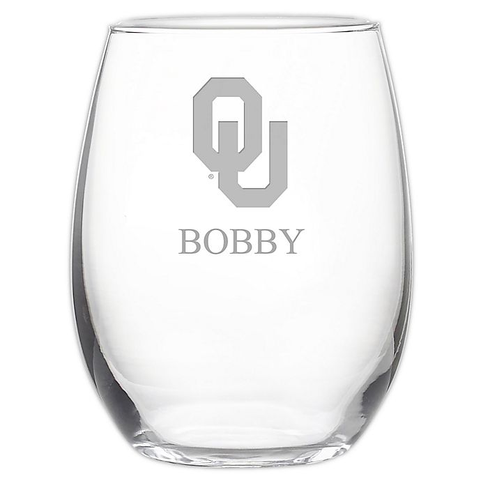 Alternate image 1 for University of Oklahoma Stemless 21 oz. Etched Wine Glass