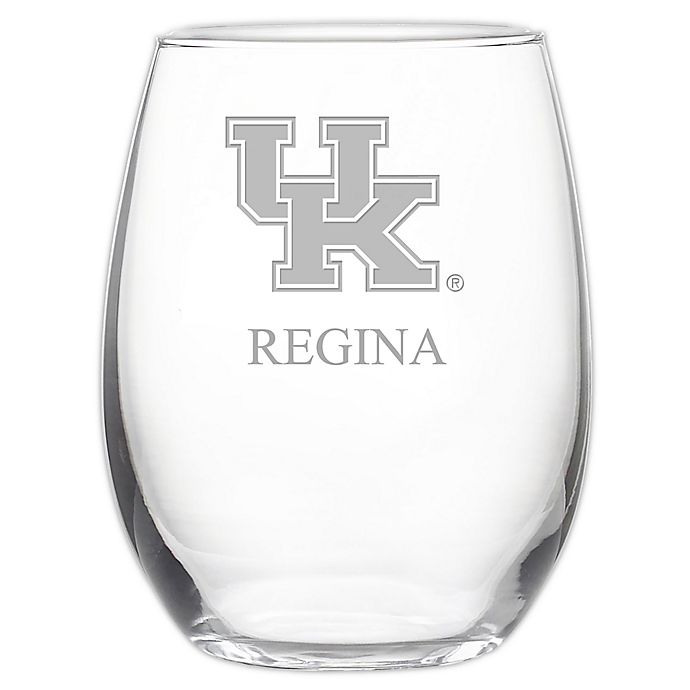 Alternate image 1 for University of Kentucky Stemless 21 oz. Etched Wine Glass