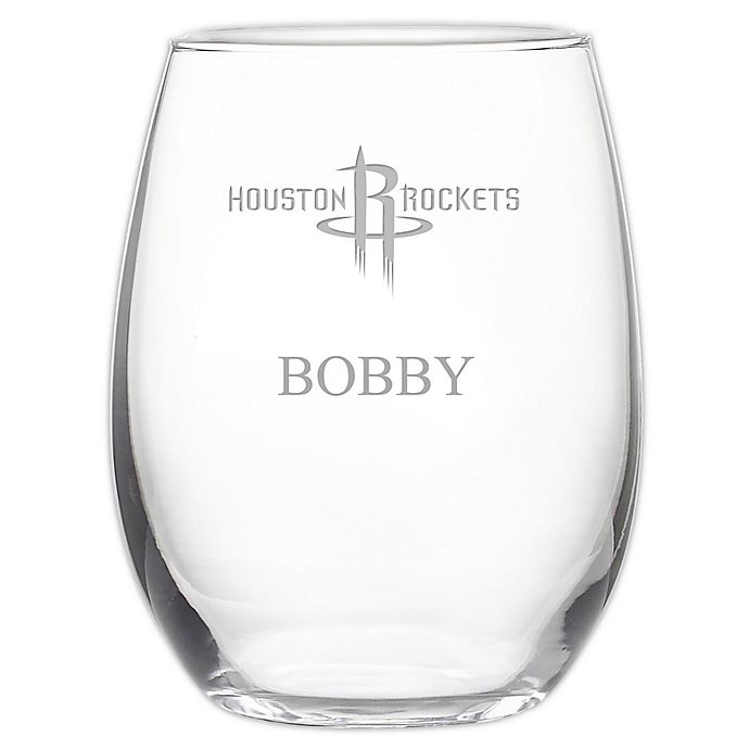 Alternate image 1 for NBA Houston Rockets Stemless 21 oz. Etched Wine Glass