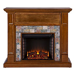Southern Enterprises© Vogelson Faux Stone Media Stand Electric Fireplace in Dark Sienna