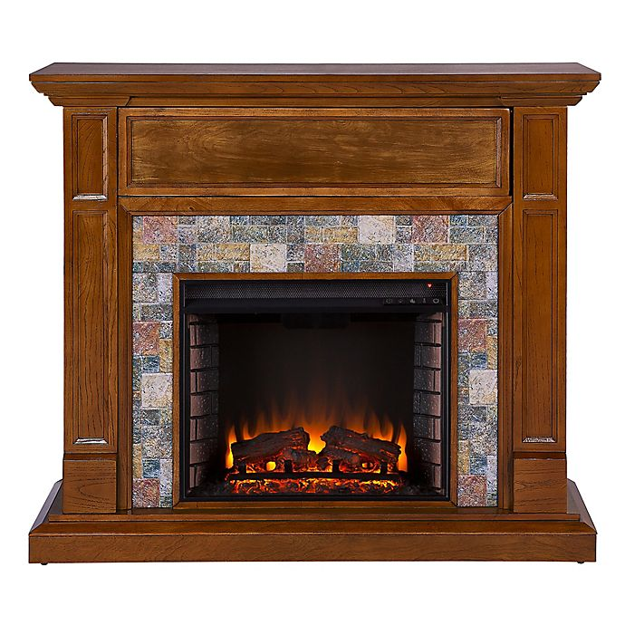 Alternate image 1 for Southern Enterprises Vogelson Faux Stone Infrared Electric Media Fireplace in Dark Sienna