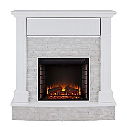 Southern Enterprises© Jacksdale Faux Stone Media Stand Electric Fireplace in White