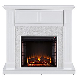 Southern Enterprises© Nobleman Mosaic Tiled Media Stand Electric Fireplace in White
