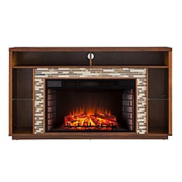 Southern Enterprises Callum TV Stand Fireplace in Maple