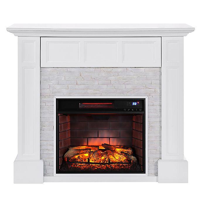 Alternate image 1 for Southern Enterprises Broyleston Faux Brick Infared Electric Media Fireplace in White