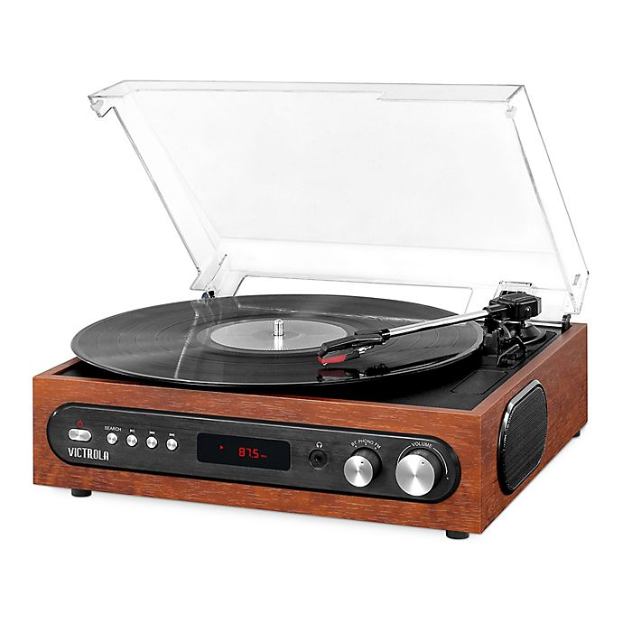 Alternate image 1 for Victrola All-in-1 Bluetooth Record Player in Mahogany